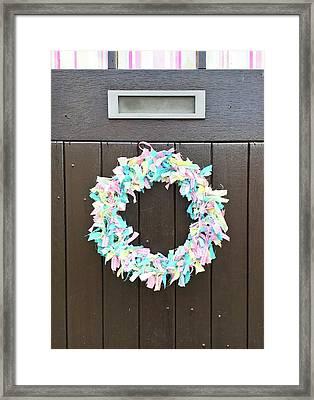 A Door Wreath Framed Print by Tom Gowanlock