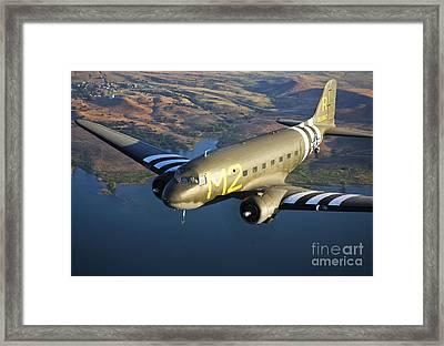 A Douglas C-53 Skytrooper In Flight Framed Print by Scott Germain
