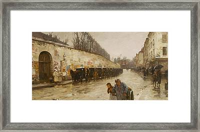 A Downpour - Rue Bonaparte Framed Print by Childe Hassam