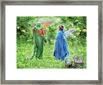 A Dragon Confides In A Fairy Framed Print by Lise Winne