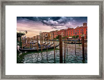 Vintage Buildings And Dramatic Sky, A Dreamlike Seascape In Venice Framed Print