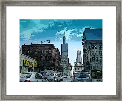 Framed Print featuring the photograph A Drive Through Downtown Chicago by Skyler Tipton