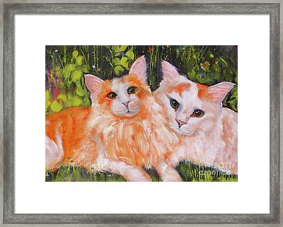 A Duet Of Kittens Framed Print by Susan A Becker