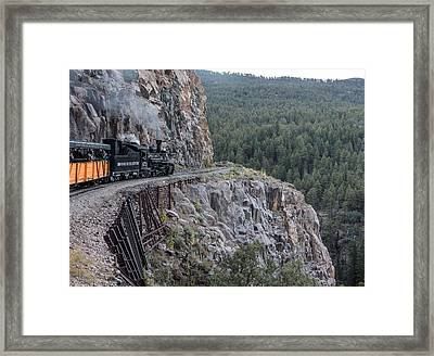 Framed Print featuring the photograph A Durango And Silverton Narrow Gauge Scenic Railroad Train Along A San Juan Mountains Precipice by Carol M Highsmith