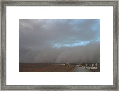 A Dust Storm Approaches A Convoy Framed Print
