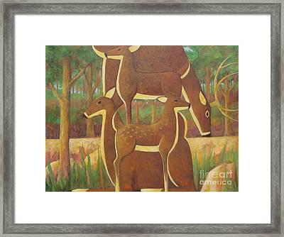 A Family Of Deer Framed Print by Glenn Quist
