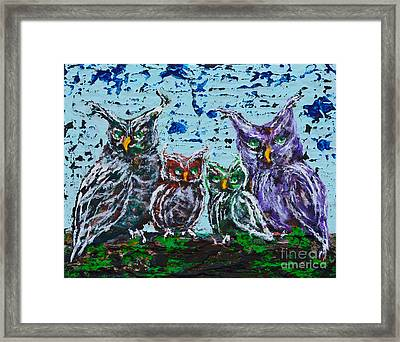 A Family Of Owls Framed Print by Alys Caviness-Gober