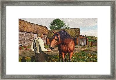 Framed Print featuring the digital art A Farmer And His Horse by Jayne Wilson