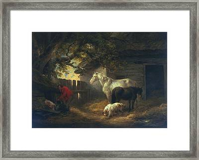 A Farmyard Framed Print by George Morland