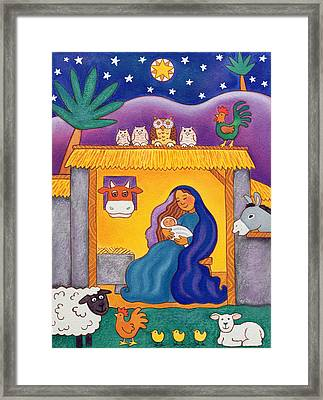 A Farmyard Nativity Framed Print by Cathy Baxter