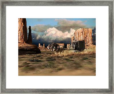 A Fast Stagecoach Pulled By Two Horses, Crosses The Desert Of Monument Valley Framed Print by Peter Nowell