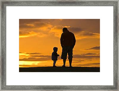 A Father And His Baby Son Watch Framed Print by Jason Edwards