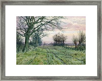A Fenland Lane With Pollarded Willows Framed Print by William Fraser Garden