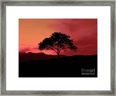 A Fiery Sky Framed Print by KaFra Art
