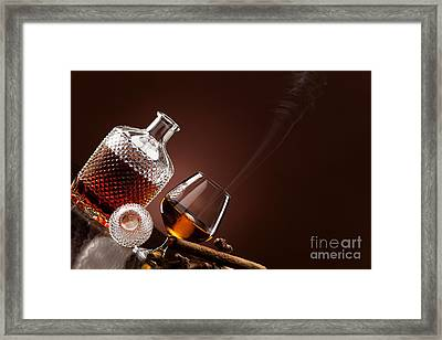 A Fine Alcohol And A Smoking Cigar Framed Print by Wolfgang Steiner