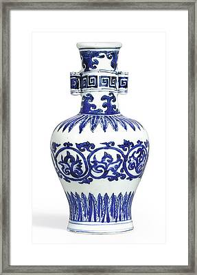 A Fine And Rare Blue And White 'arrow' Vase Mark And Period Of Wanli Framed Print