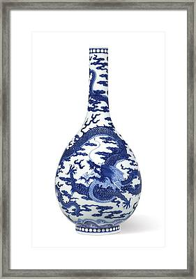 A Fine Blue And White 'dragon' Bottle Vase Qing Dynasty, Qianlong Period Framed Print by Celestial Images