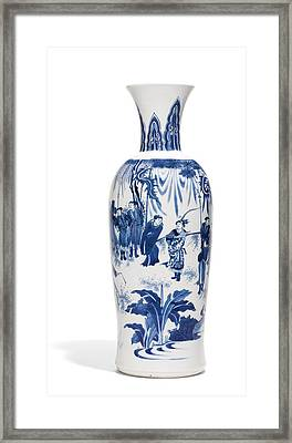 A Fine Blue And White Vase Ming Dynasty, Chongzhen Period Framed Print