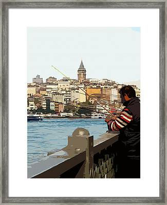 A Fisherman In Istanbul Framed Print