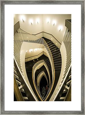 A Fisheye Look At The Mca Stairs Framed Print