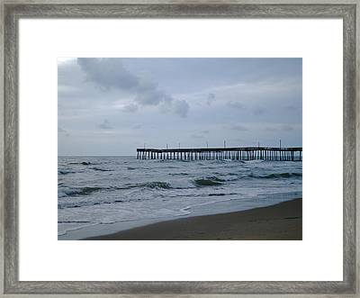 A Fishing Pier At Dawn Framed Print