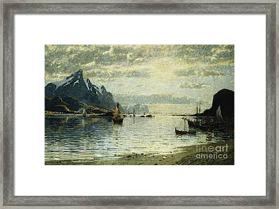 A Fjord Scene With Sailing Vessels Framed Print by Adelsteen Normann