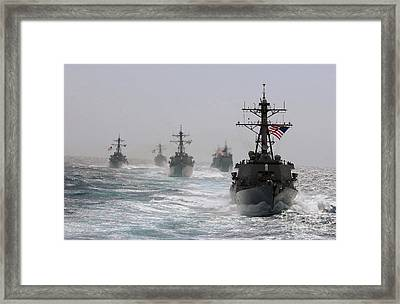 A Fleet Of Ships In Formation At Sea Framed Print