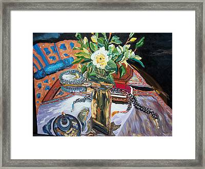 A Flower And A Vase Framed Print