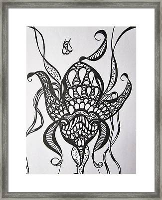 A Flower And The  Bee Framed Print by Rosita Larsson