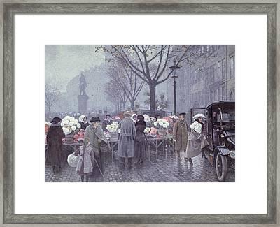 A Flower Market Framed Print by Paul Fischer