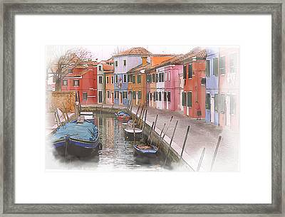 A Foggy Day In Burano Italy Framed Print