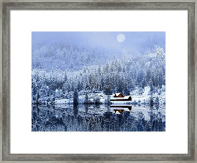 Framed Print featuring the photograph A Foggy Winter Night by Diane Schuster