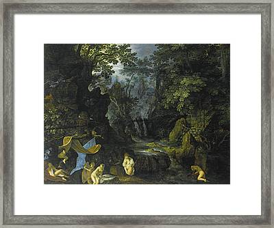 A Forest Landscape With Bathing Nymphs And Leda And The Swan Framed Print by Roelandt Savery