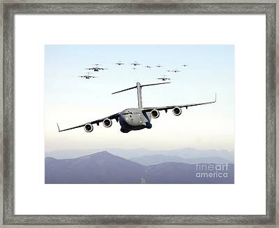 A Formation Of 17 C-17 Globemaster IIis Framed Print by Stocktrek Images