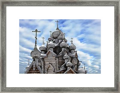 A Fragment Of A Wooden Christian Church With Domes In The Foreground Framed Print by George Westermak