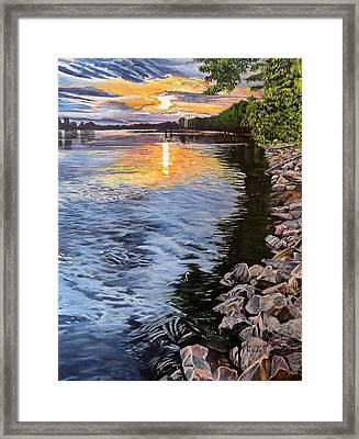 A Fraser River Sunset Framed Print