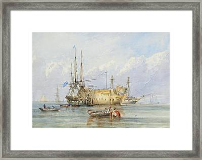 A Frigate Lying Alongside A Prison Hulk With Other Shipping Framed Print by MotionAge Designs