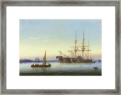 A Frigate Moored Alongside A Hulk Framed Print by William Joy