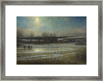 A Frosty Night   The Frozen Mill Pond Framed Print by George Henry Boughton