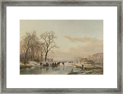 A Frozen Canal In The Meuse Framed Print by Andreas Schelfhout