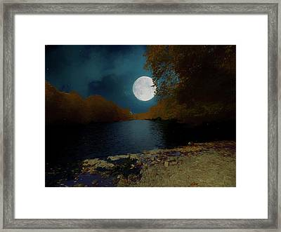 A Full Moon On A River. Framed Print