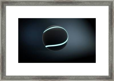 A Futuristic Sports Concept Of A Black Textured Tennis Ball Lit With Neon Markings Flying Through Da Framed Print