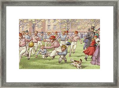 A Game Of Rugby Football Being Played At Rugby School Framed Print by Pat Nicolle