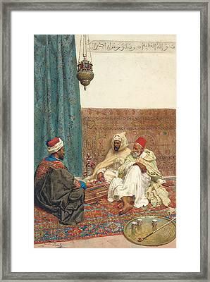 A Game Of Tavli Framed Print by Giulio Rosati
