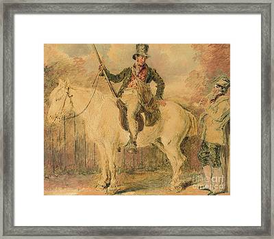 A Gamekeeper On A Horse And Another Man Conversing Framed Print by William Henry Hunt