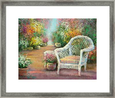 A Garden Chair Framed Print by Sally Seago