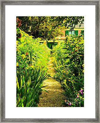 A Garden Path Home Framed Print by MaryJane Armstrong