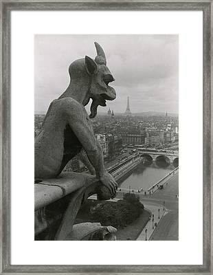 A Gargoyle Looking Over The City Framed Print