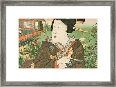 A Geisha With A Pipe Framed Print
