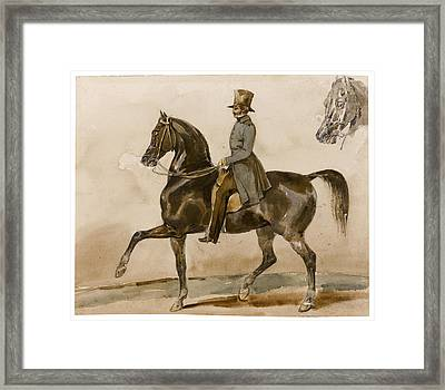 A Gentleman On Horseback With A Subsidiary Study Of The Horse's Head Framed Print by Theodore Gericault